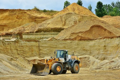 open pit mining, sand, raw materials